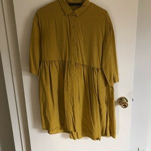 Zara Mustard Babydoll collared Dress with Pockets